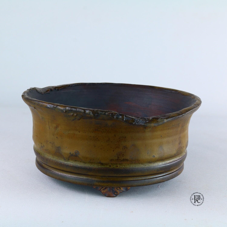 Kingdom Bonsai Pots - Ireland.  14.6cm; Formal Round; Imposing Carved Feet; Superb Glaze; Translucent Green; EBPC Stamped; Enda Coyne