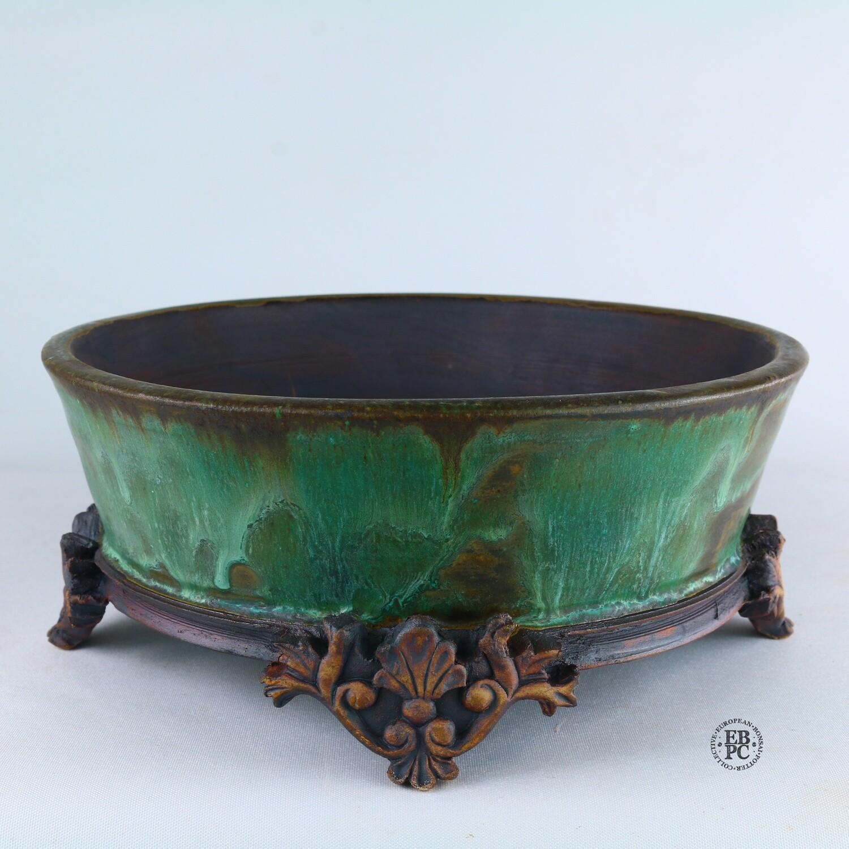 Kingdom Bonsai Pots - Ireland.  21cm; Formal Round; Imposing Carved Feet; Superb Glaze; Running Greens; Browns; EBPC Stamped; Enda Coyne