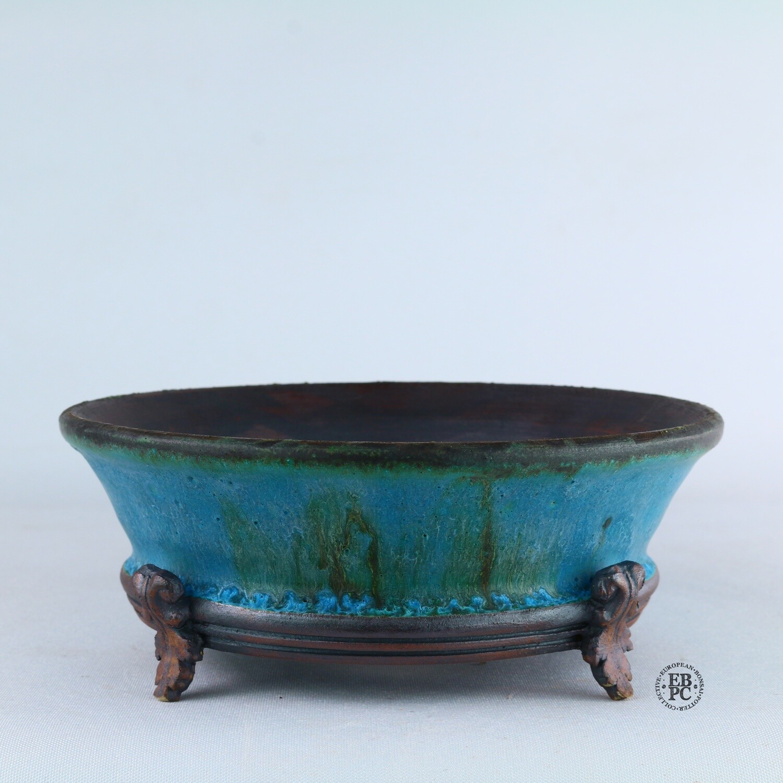 Kingdom Bonsai Pots - Ireland.  15.9cm; Formal Round; Carved Feet; Superb Glaze; Blues; Browns; EBPC Stamped; Enda Coyne