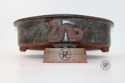 M.B. Bonsaischalen - 35.3cm; Quince/ Mokko shape; Sculpted Dragon Motifs; Excellent Glaze; Browns; Marc Berenbrinker