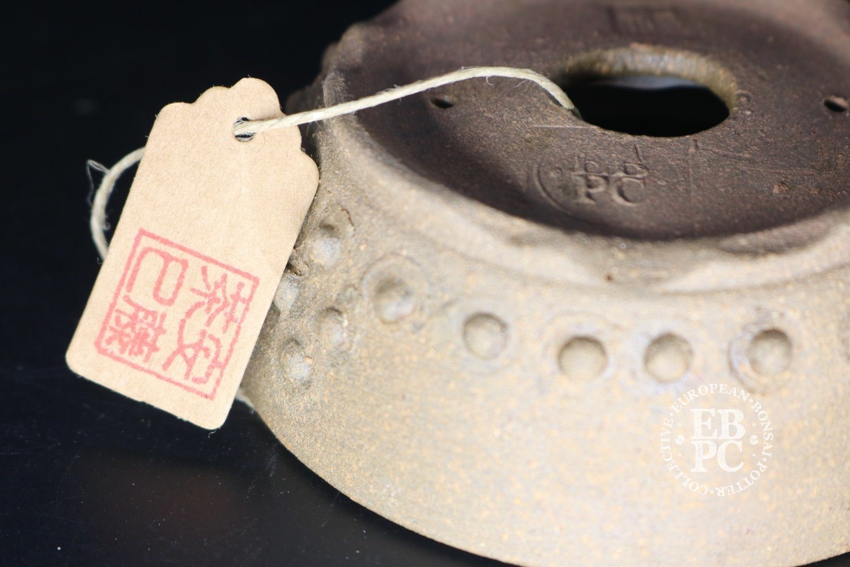 SOLD - Amdouni Bonsai Pots - 10.1cm; Unglazed; Shohin / Mame; Drum-like design; Round; Rivets; Sami Amdouni