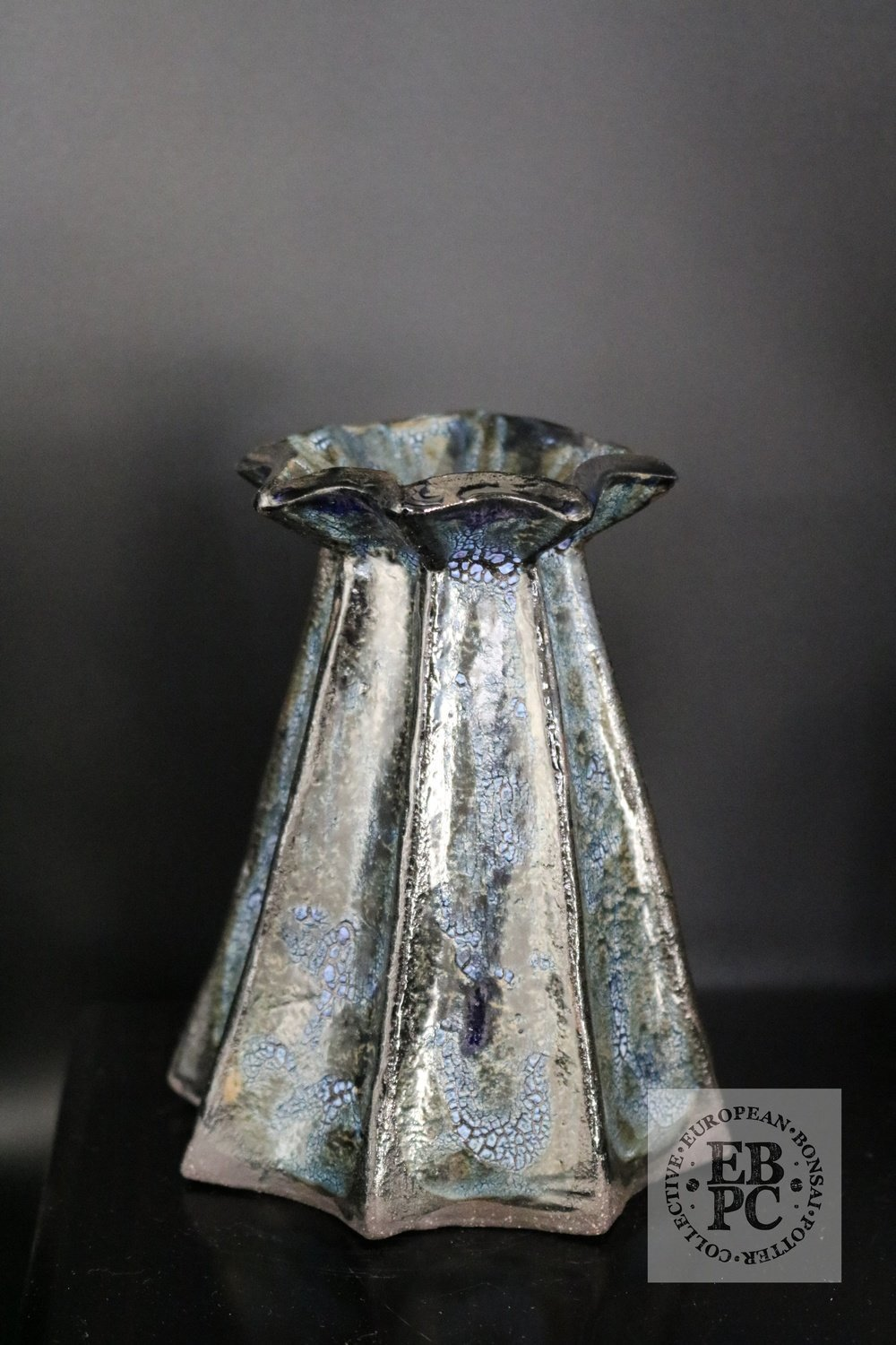 Carina Jern - 11cm; Ikebana; European; Glazed; Crawling glaze, blue, brown, metallic,