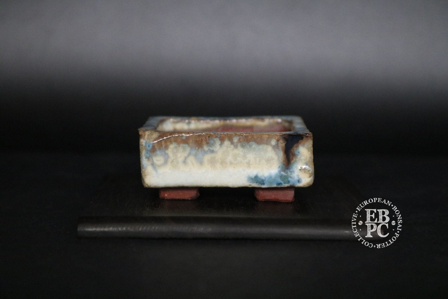 SOLD - Holvila - 'Ice Crystals'; MAME; 5.1cm; Glazed; Rectangle; White; Blue; Brown; Thor Holvila