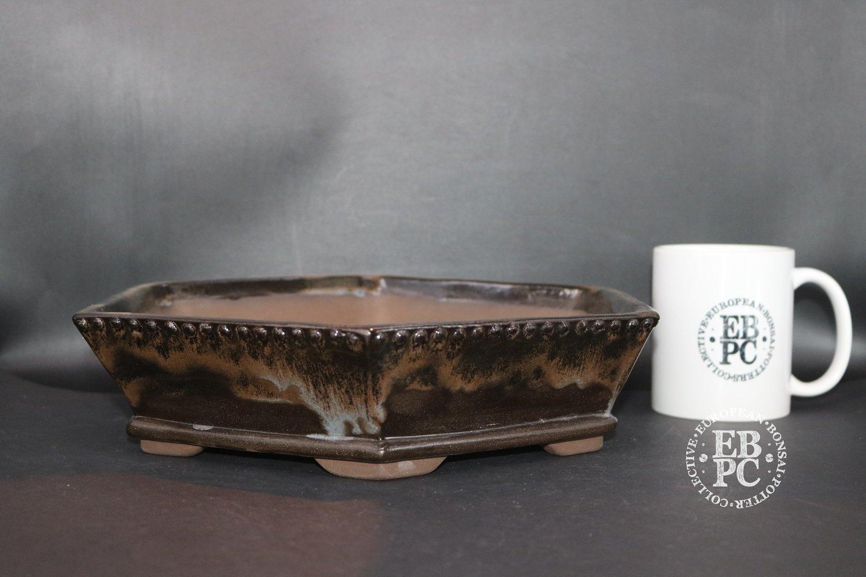 SOLD - Mirt Pots - 26cm; Glazed; Hexagonal; Running glaze; Browns; White