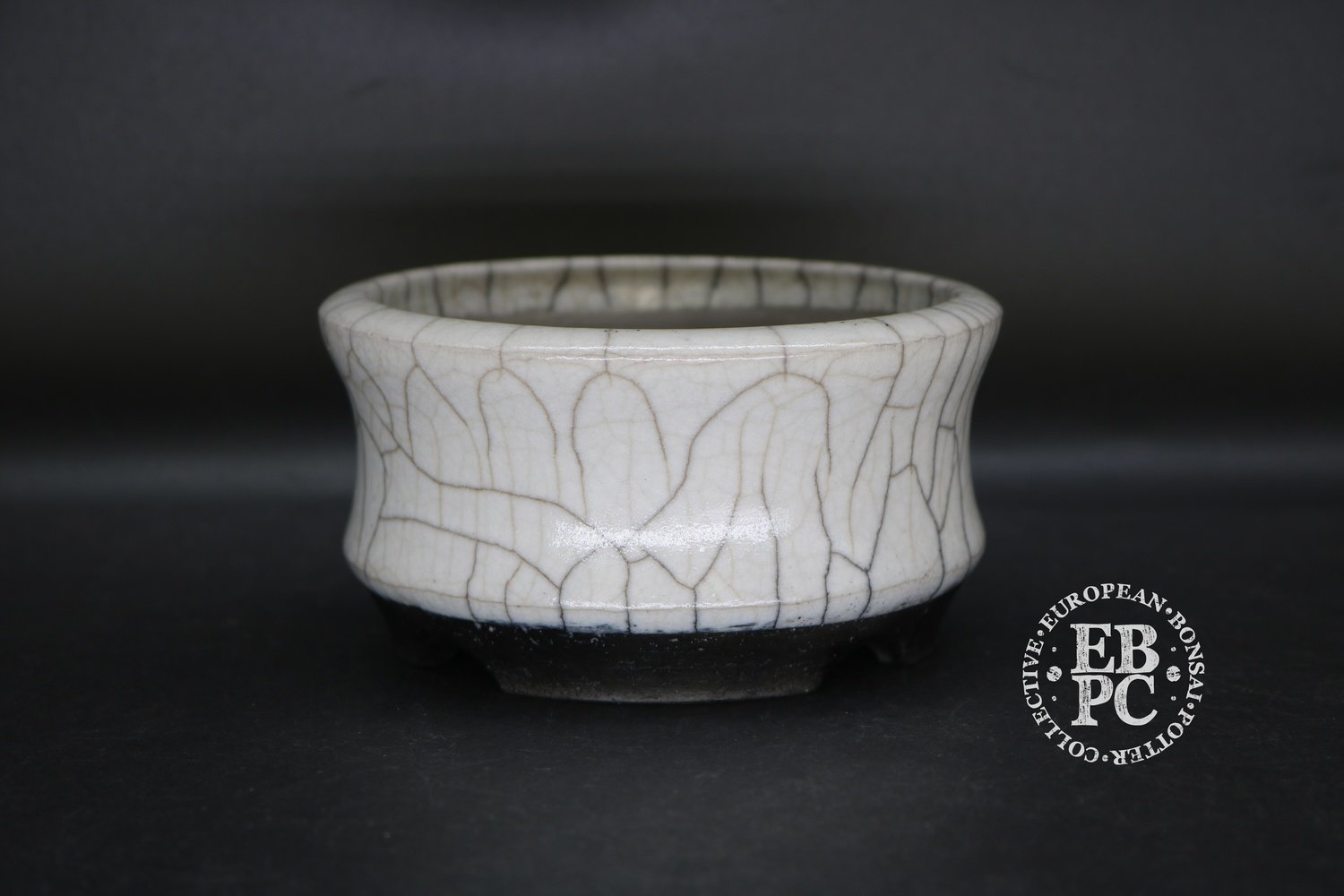 SOLD - Stone Monkey Ceramics - 12.2cm; RAKU fired; Glazed; Shohin; Round; Cream; White; Crackle glaze; Andrew Pearson