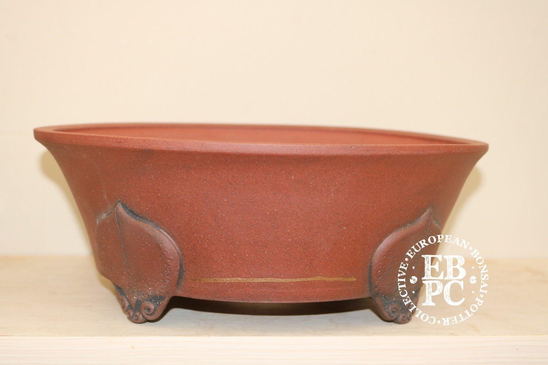 Stone Monkey Ceramics - 26.5cm; unglazed; round; semi cascade; superb feet; kintsugi