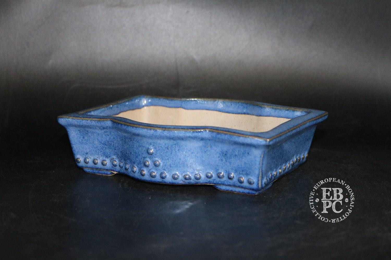 SOLD - Amdouni Bonsai Pots - 17.2cm; Glazed; 'Bulged' rectangle; Shohin; Namako; Blue; Sami Amdouni