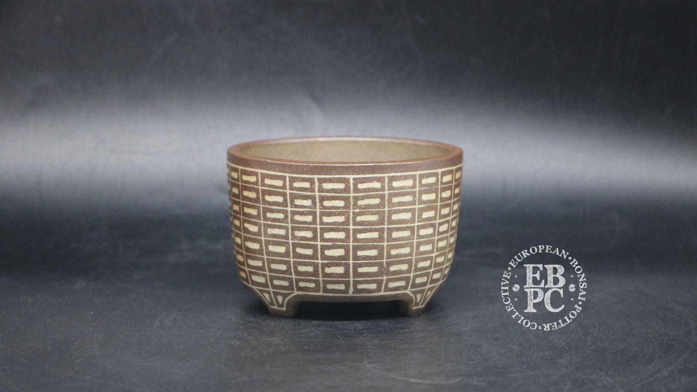 SOLD - Sansai Bonsai Pots - 9.6cm; Carved; Unglazed; Round; Dark & Light brown clays, Inlay technique; Pattern; Tom Benda