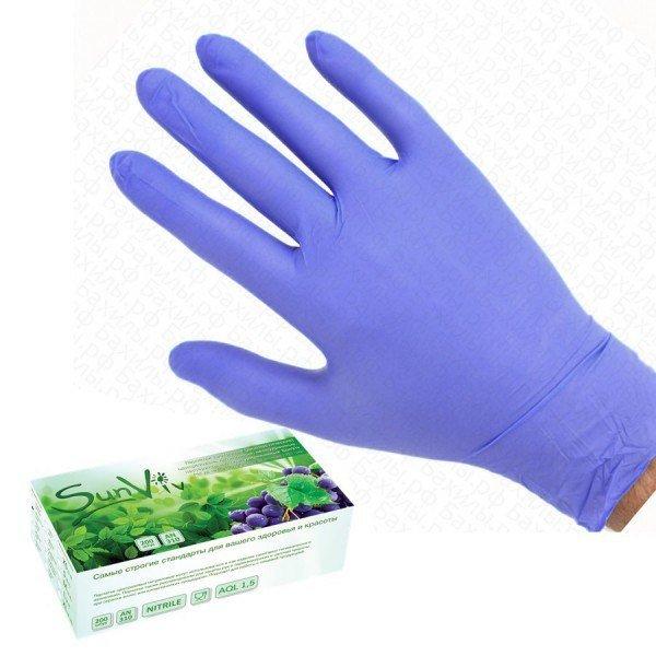 Перчатки нитриловые SunViv Малайзия, S (розовый)