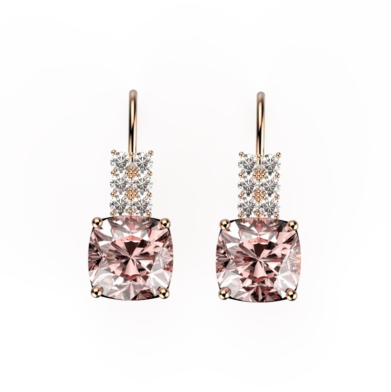 Morganite and diamond earrings