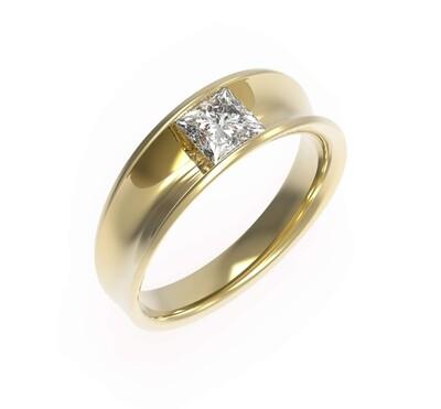 0.70ct Princess cut Concave tension ring