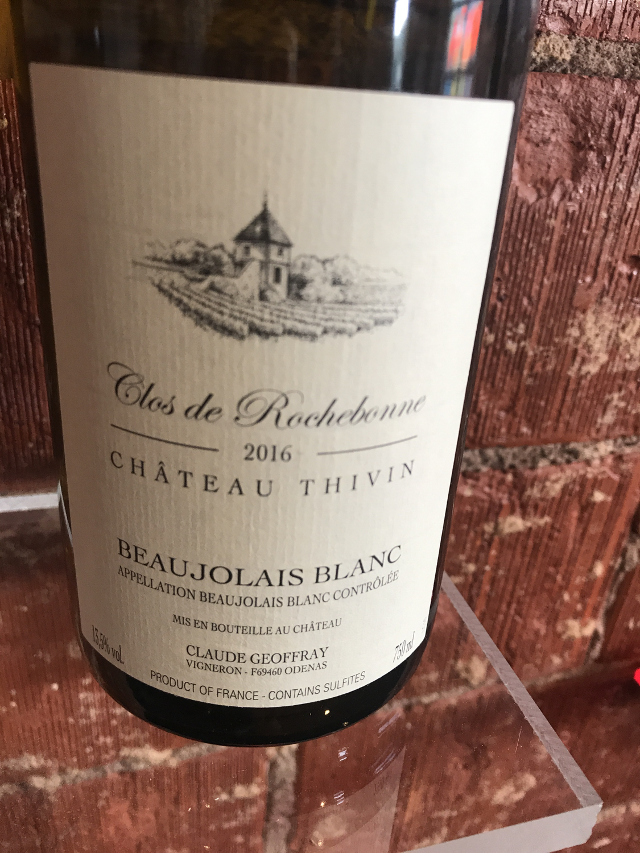 """Chat Thivin Beaujolais Blanc """"Rochebonne"""" 2016"""