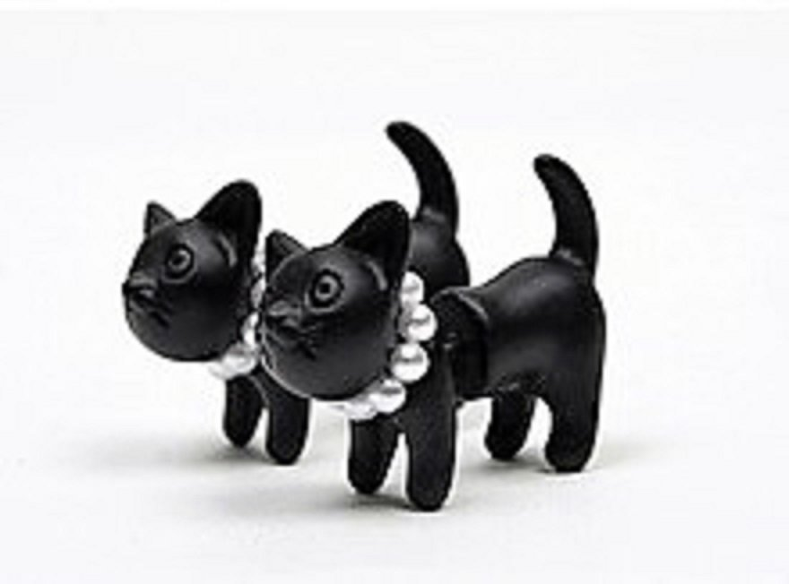 3D Black Cat Earrings