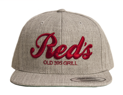 Gray and Red Embroidered Snapback Hat