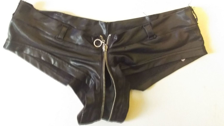 Very worn in, dirty, broken zipper, shiny black booty shorts