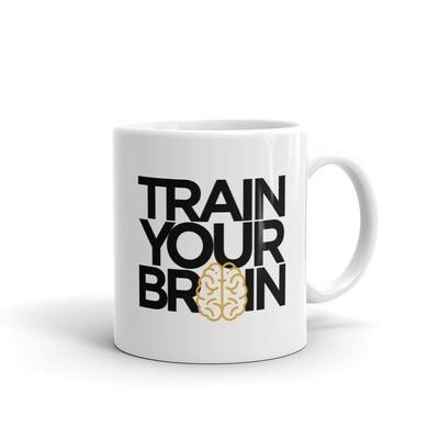 Train Your Brain white glossy mug