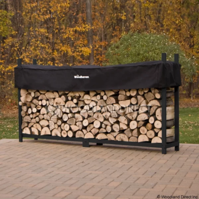 Doc's Black 8' Firewood Rack with Cover
