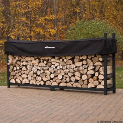 Doc's Black 10' Firewood Rack with Cover