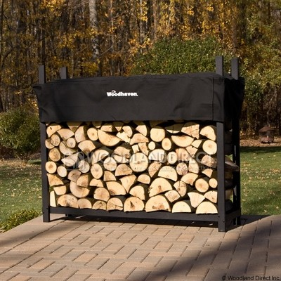 Doc's Black 5' Firewood Rack with Cover