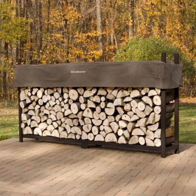Doc's Brown 8' Firewood Rack with Cover