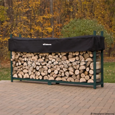 Doc's Green 8' Firewood Rack with Cover