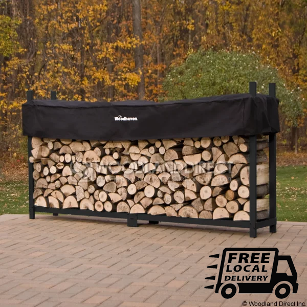 Doc's Black 8' Firewood Rack with Cover and Fireplace Cord Bundle