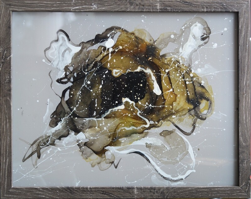 Tea stained residue - mylar shadow boxes