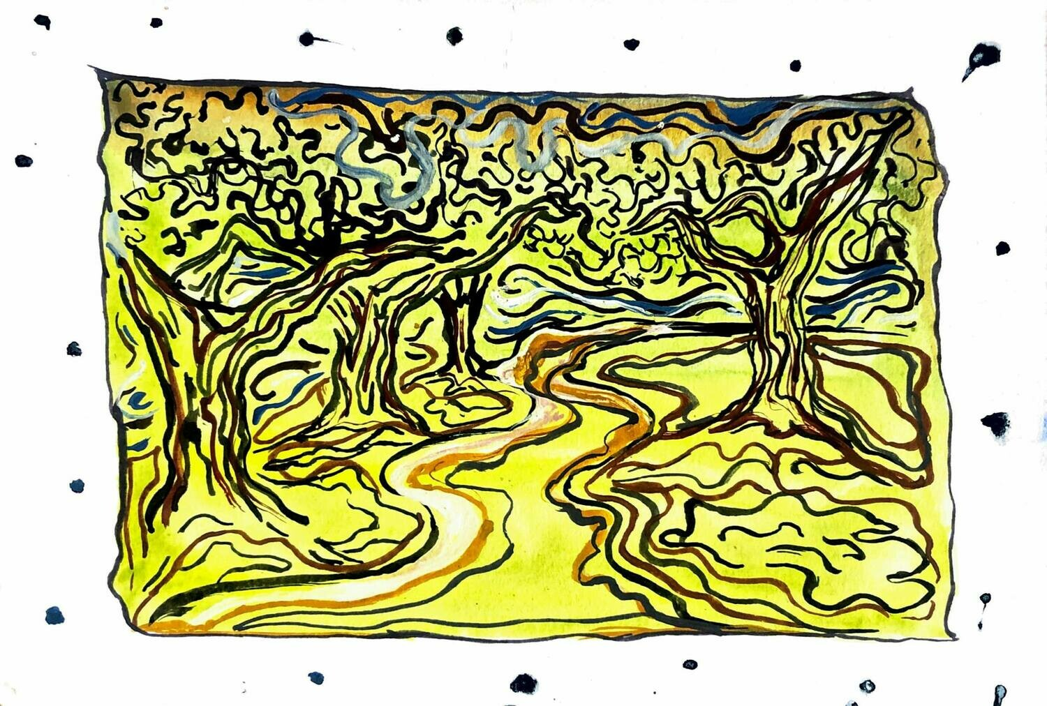 """Trees, swirly mountain scenes, (Watercolor paintings 5""""x7"""")"""