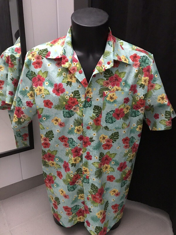 Men's shirt Hibiscus 🌺 mint green
