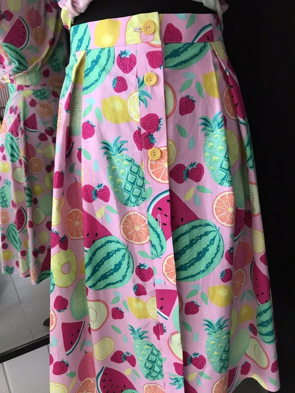 Button Skirt Fruits 🍉 🍍🍋🍊🍓pink