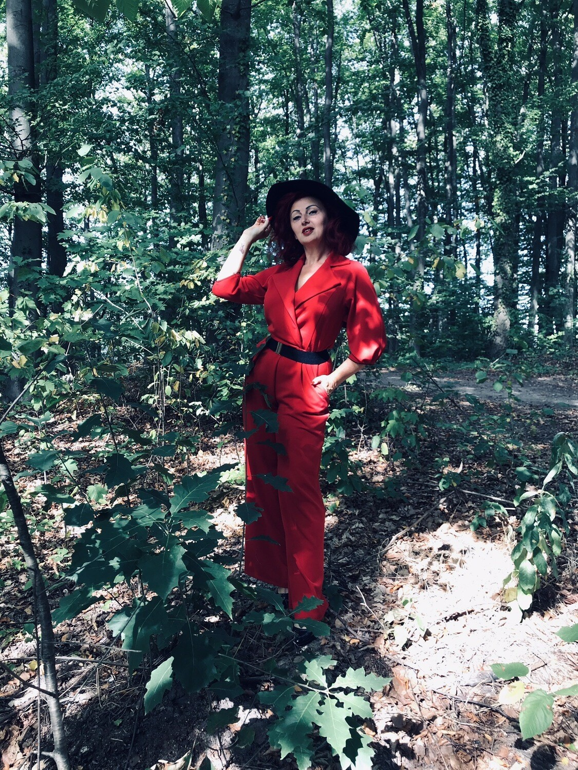 Jumpsuit Trenchcoat Red
