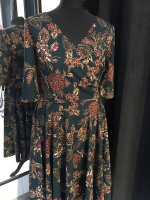 Dress Flower Scuba Crêpe Dark Green
