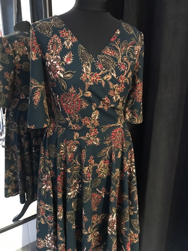 Dress Flower Scuba Crêpe Dark Green