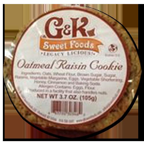 Box of a dozen 3.7oz Oatmeal Raisin Cookies