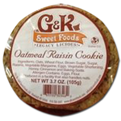 Box of half a dozen 3.7oz Oatmeal Raisin Cookies