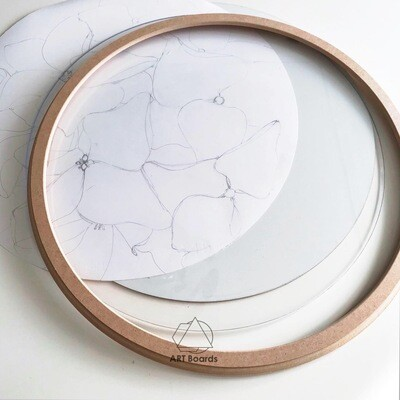 MDF round Element frame + glass and backing