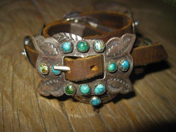 Old Stone Leather Concho Bracelet