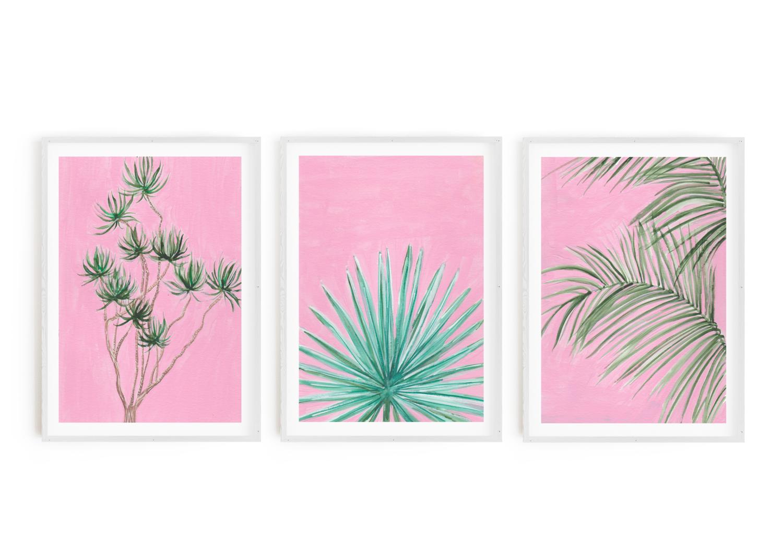 Plants on Pink Print Set (3 Prints)