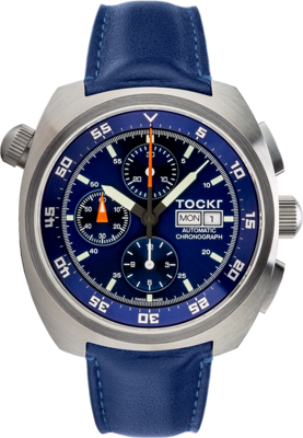 Air Defender Stainless Steel Blue Calf Leather