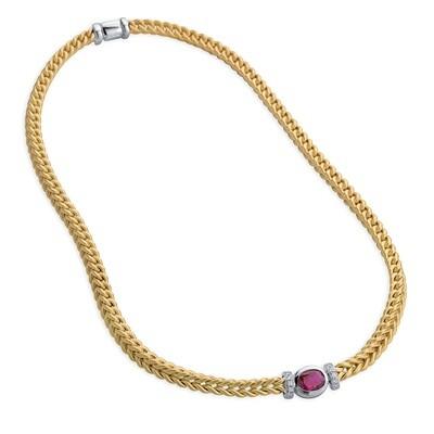Etruscan Heavy Woven Necklace Ruby MC 6269 16 Z