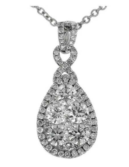 Gregg Ruth 18KT White Gold Pear Shape Diamond Cluster Necklace