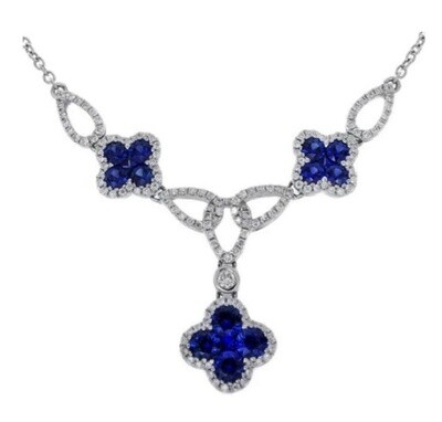 Gregg Ruth 18KT White Gold Cloverleaf Diamond and Blue Sapphire Necklace