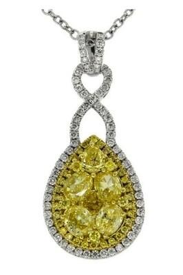 Gregg Ruth 18KT White Gold Necklace WIth Natural Fancy Yellow Diamond Pear Cluster and Diamonds