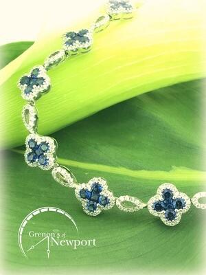 Gregg Ruth 18KT White Gold Cloverleaf Blue Sapphire Diamond Bracelet