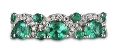 Gregg Ruth 18KT White Gold Emerald Diamond Ring