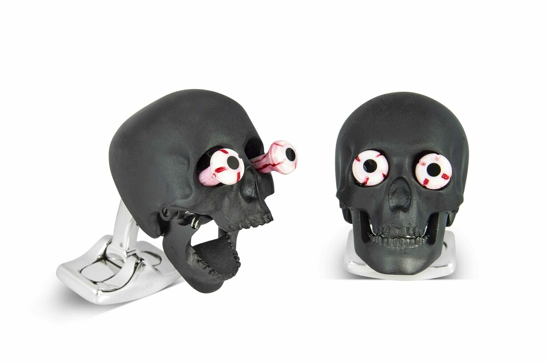 Eye Popping Skull Cufflinks in Matte Black