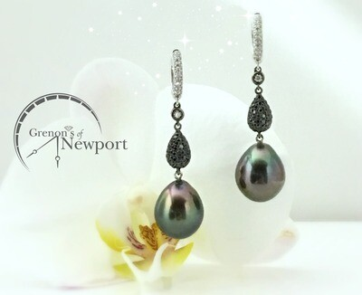 18KT White Gold Tahitian Pearl Drop Earrings with Black and White diamonds