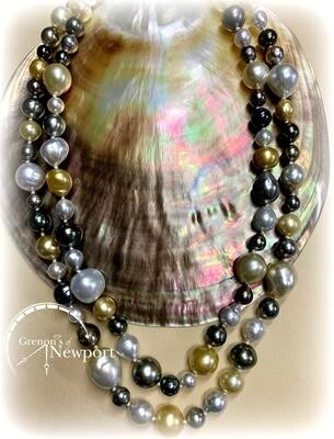 Mastoloni 18KT Yellow Gold Multicolor South Sea & Tahitian Baroque Pearl Strand Necklace