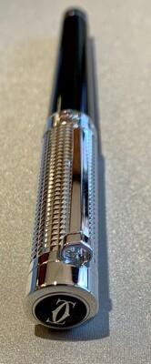 Cartier Pasha Rollerball Pen Clou De Paris Decor Black Composite Platinum Finish