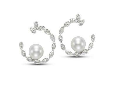 Diamond Pearl Hoop Earrings